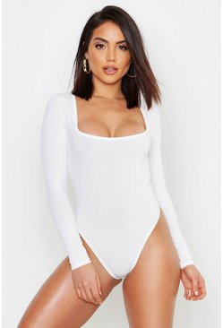 Ivory Square Neck Rib Knit Long Sleeve Body