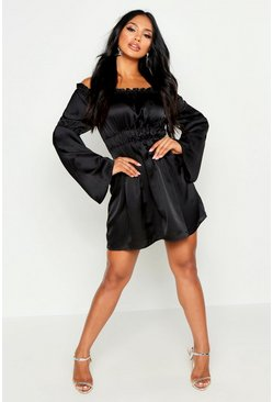 Dam Black Off The Shoulder Ruched Detail Skater Dress