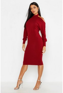 Womens Berry High Neck Backless Midi Dress