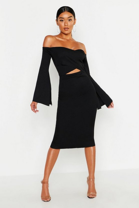 Womens Black Bardot Split Sleeve Rib Bodycon Midi Dress