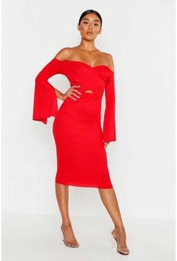 Womens Red Bardot Split Sleeve Rib Bodycon Midi Dress