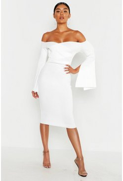 White Bardot Split Sleeve Rib Bodycon Midi Dress