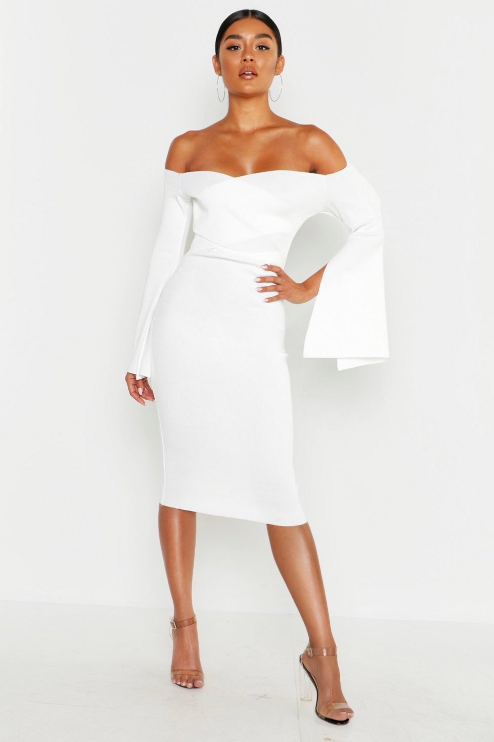 c8565467577d Bardot Split Sleeve Rib Bodycon Midi Dress | Boohoo