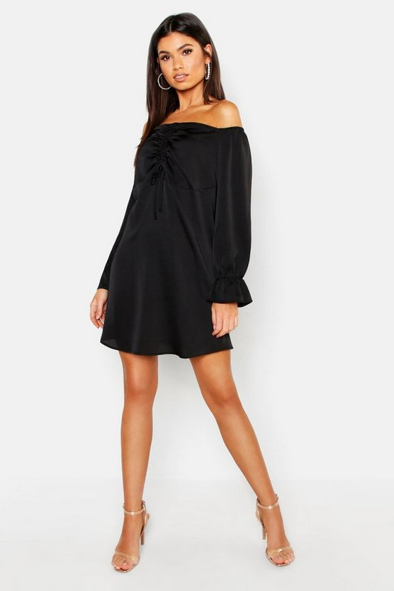 Womens Black Off The Shoulder Satin Ruched Swing Dress