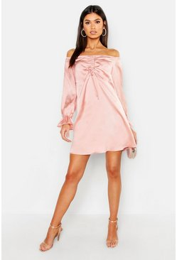 Womens Nude Off The Shoulder Satin Ruched Swing Dress