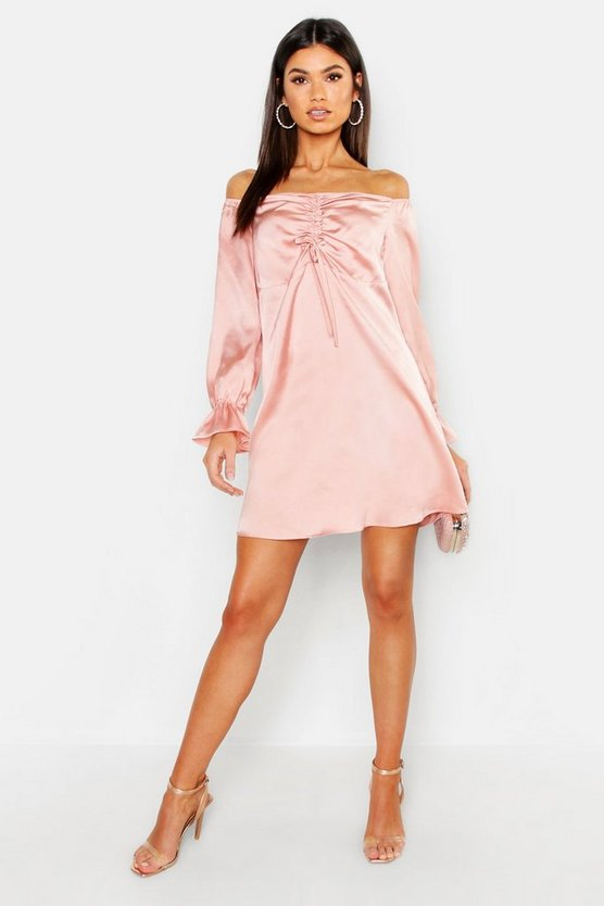 Off The Shoulder Satin Ruched Swing Dress