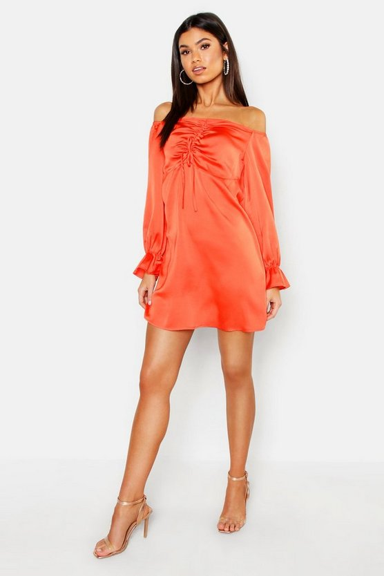 Womens Orange Off The Shoulder Satin Ruched Swing Dress