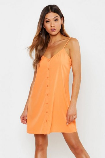 Womens Orange Button Through Woven Cami Shift Dress