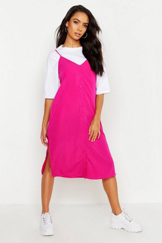 Womens Hot pink Button Through Woven Cami Dress