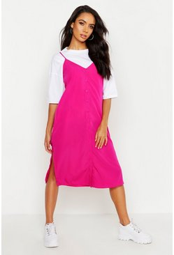 Hot pink Button Through Woven Cami Dress