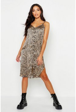Womens Sand Button Through Satin Animal Cami Dress