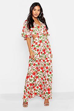 Floral Lace Up Back Maxi Dress