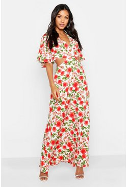 Womens Orange Floral Lace Up Back Maxi Dress