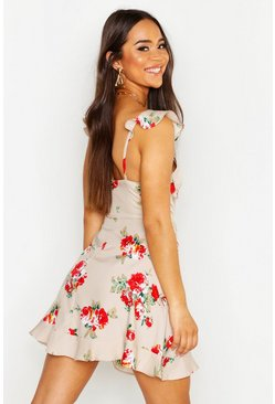Dam Sand Floral Sweetheart Ruffle Hem Shift Dress