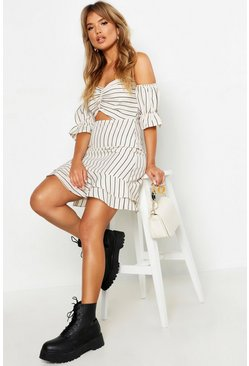 Womens Sand Tonal Stripe Sweetheart Off The Shoulder Tea Dress