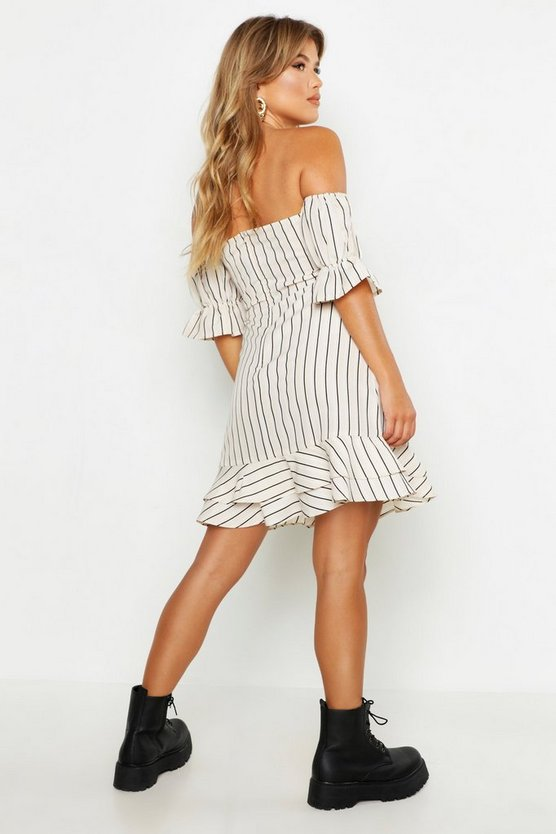Tonal Stripe Sweetheart Off The Shoulder Tea Dress
