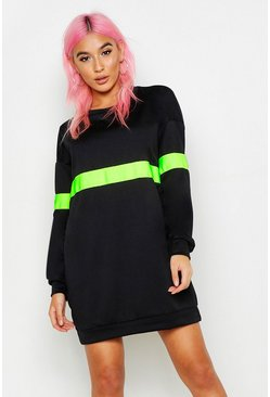 Womens Neon-green Neon Stripe Sweater Dress