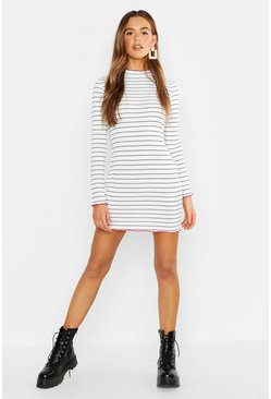 Womens Nautical Stripe Contrast Lettuce Edge Bodycon Dress