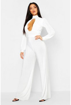 Womens White Gathered Keyhole Wide Leg Jumpsuit