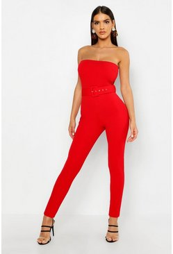 Red Bandeau Belted Jumpsuit