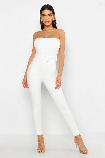 Womens White Bandeau Belted Jumpsuit