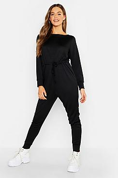 Tie Waist Long Sleeve Lounge Jumpsuit