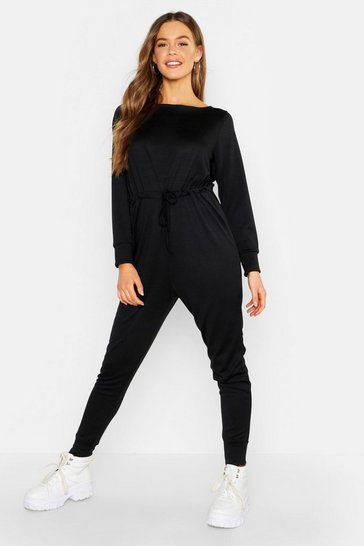 Womens Black Tie Waist Long Sleeve Lounge Jumpsuit