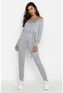 Womens Grey Tie Waist Off the Shoulder Jumpsuit