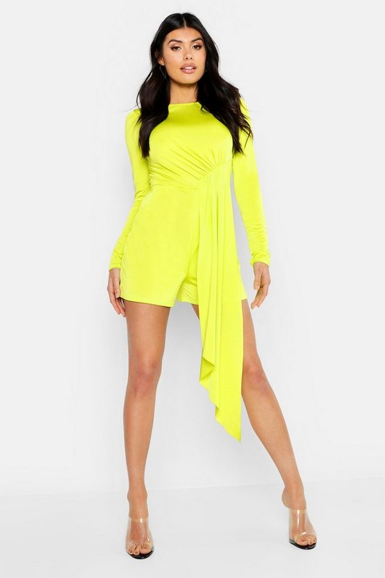 Womens Lime Disco Slinky Drape Tie Backless Playsuit