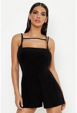 Womens Black Strappy Playsuit