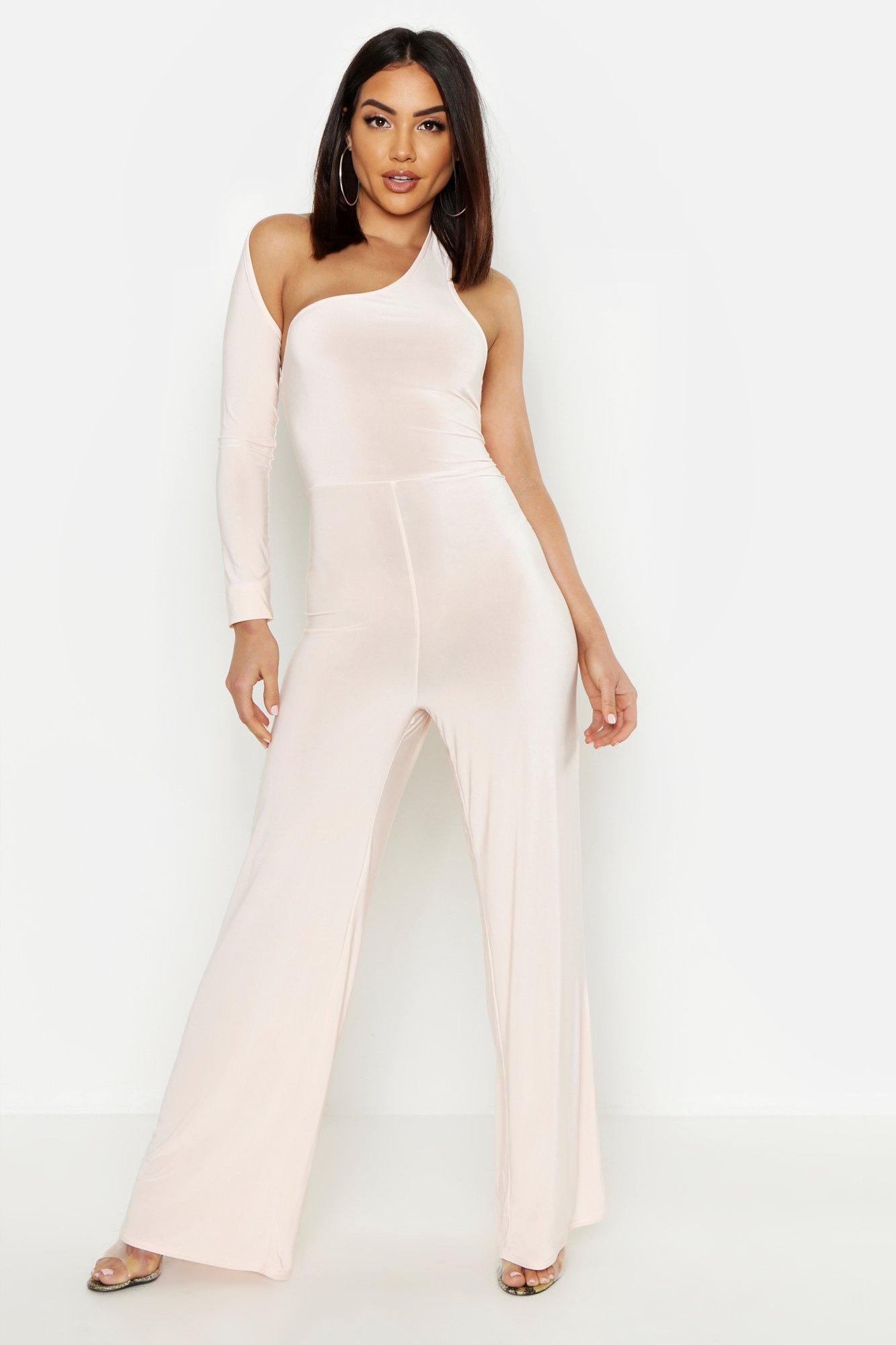 Slinky Asymmetric One Shoulder Jumpsuit