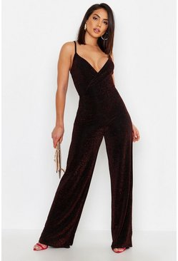 Black Sparkle Glitter Strappy Wrap Jumpsuit