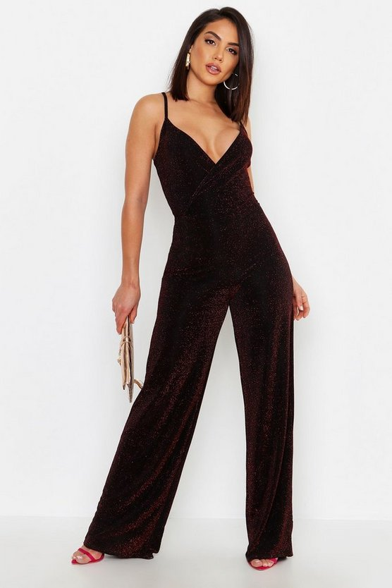 Womens Black Sparkle Glitter Strappy Wrap Jumpsuit