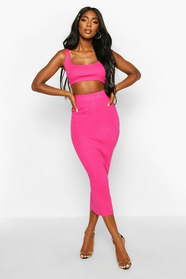 Womens Fuchsia Knitted Co-ord Skirt Set