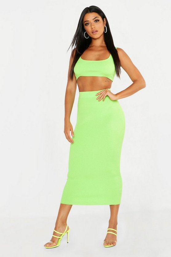 Womens Neon-lime Knitted Co-ord Skirt Set
