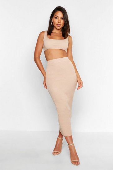 Stone Knitted Co-ord Skirt Set