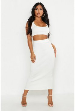 Womens White Knitted Co-ord Skirt Set