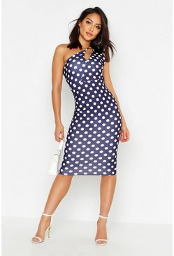 Womens Navy Spot One Shoulder Split Dress