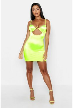 Neon-green Satin Cut Out Detail Cupped Bodycon Dress