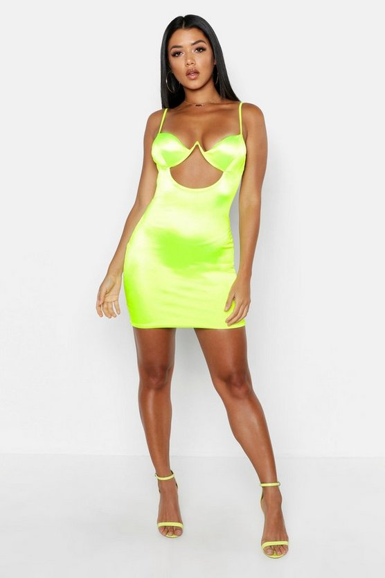 Satin Cut Out Detail Cupped Bodycon Dress