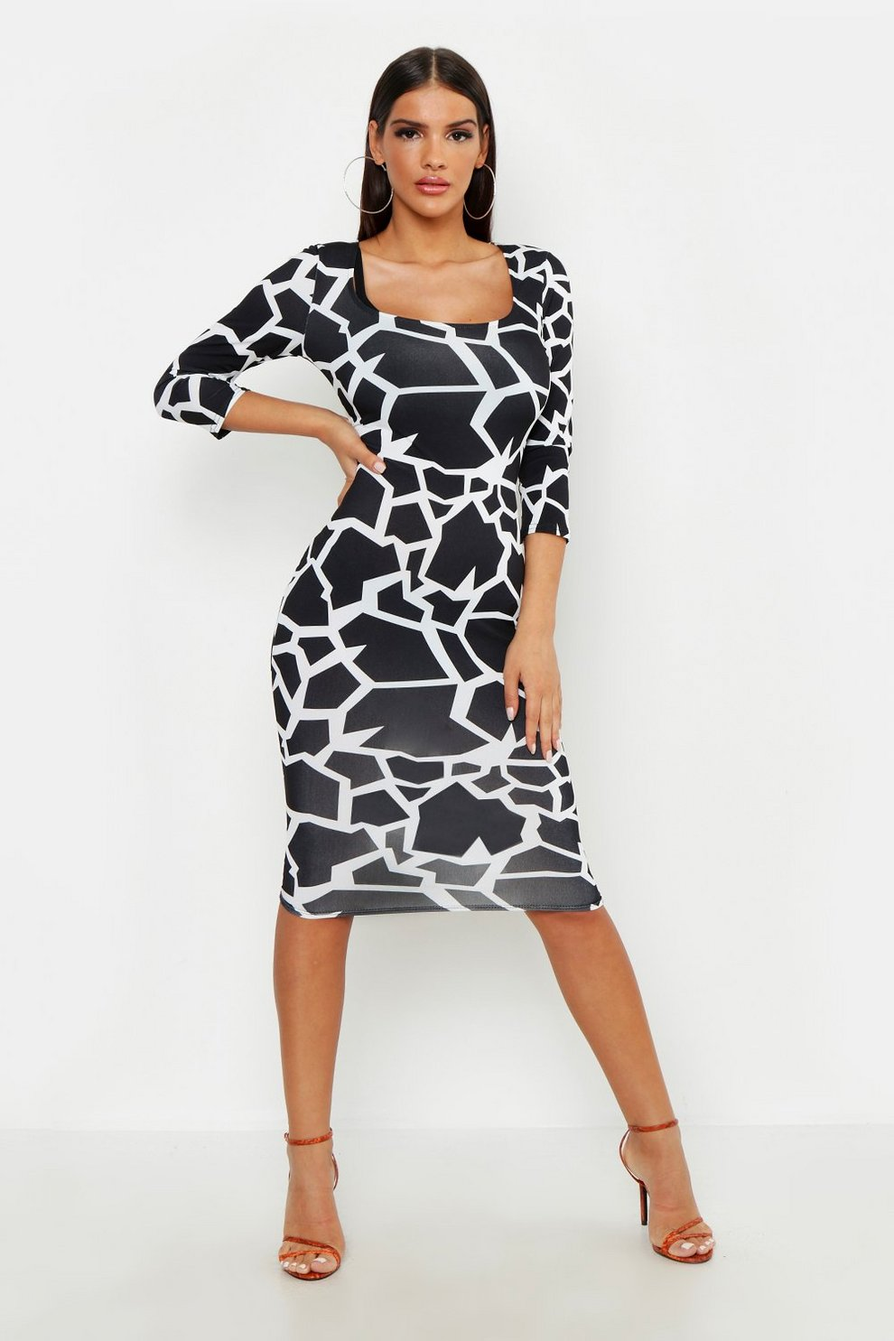 c58ea3fe4c Geo Giraffe Deep Plunge Scoop Neck Bodycon Dress | Boohoo
