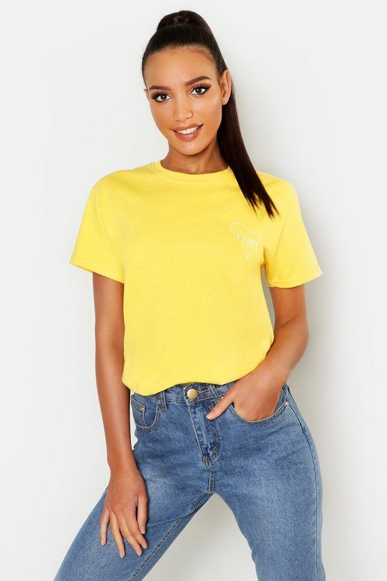 Womens Yellow Happy Loveheart Pocket Slogan T-Shirt