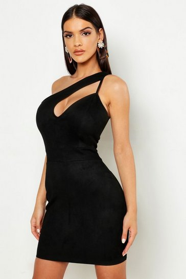 Womens Black One Shoulder Suedette Cut Out Bodycon Dress