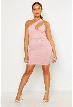 Rose One Shoulder Suedette Cut Out Bodycon Dress