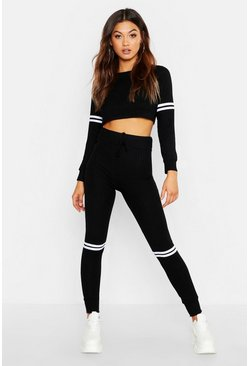 Womens Black Rib Sports Stripe Lounge Set