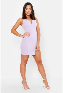 Womens Mauve Plunge Neck Bodycon Dress