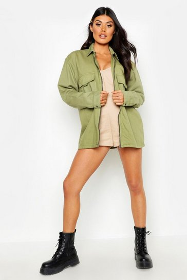 Womens Khaki Zip Front Pocket Denim Jacket