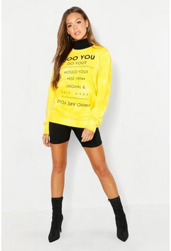 Womens Yellow Blotch Tie Dye Sweater