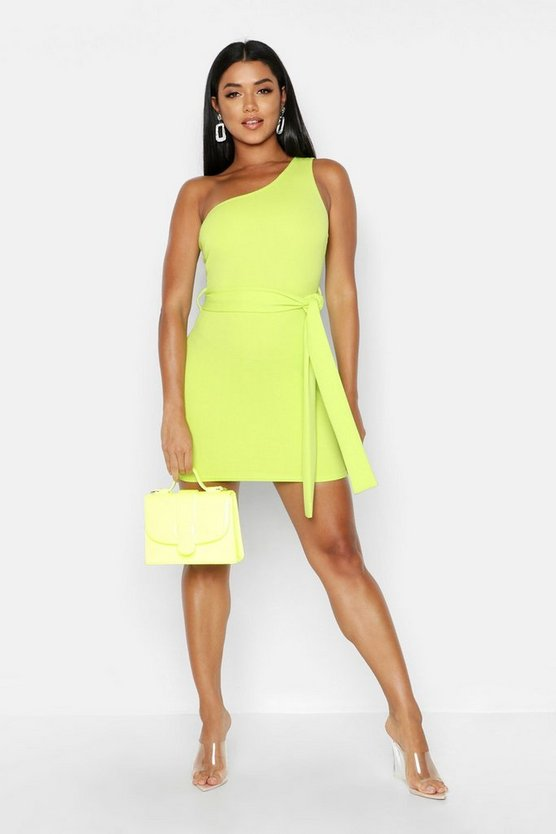 Womens Lime One Shoulder Belted Bodycon Dress