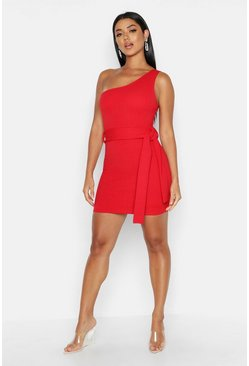 Womens Red One Shoulder Belted Bodycon Dress